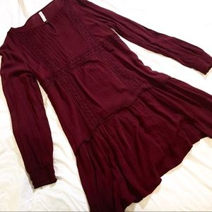 Mossimo Boho Burgundy Long Sleeve Dress - Medium
